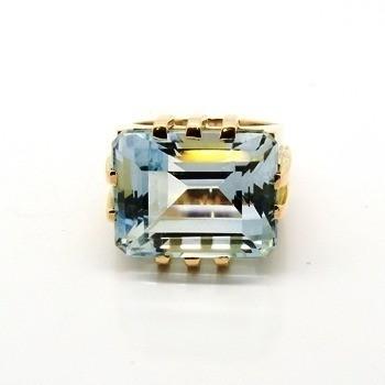 Anel Água Marinha Retangular Ouro 18K Feminino 11443 K3230