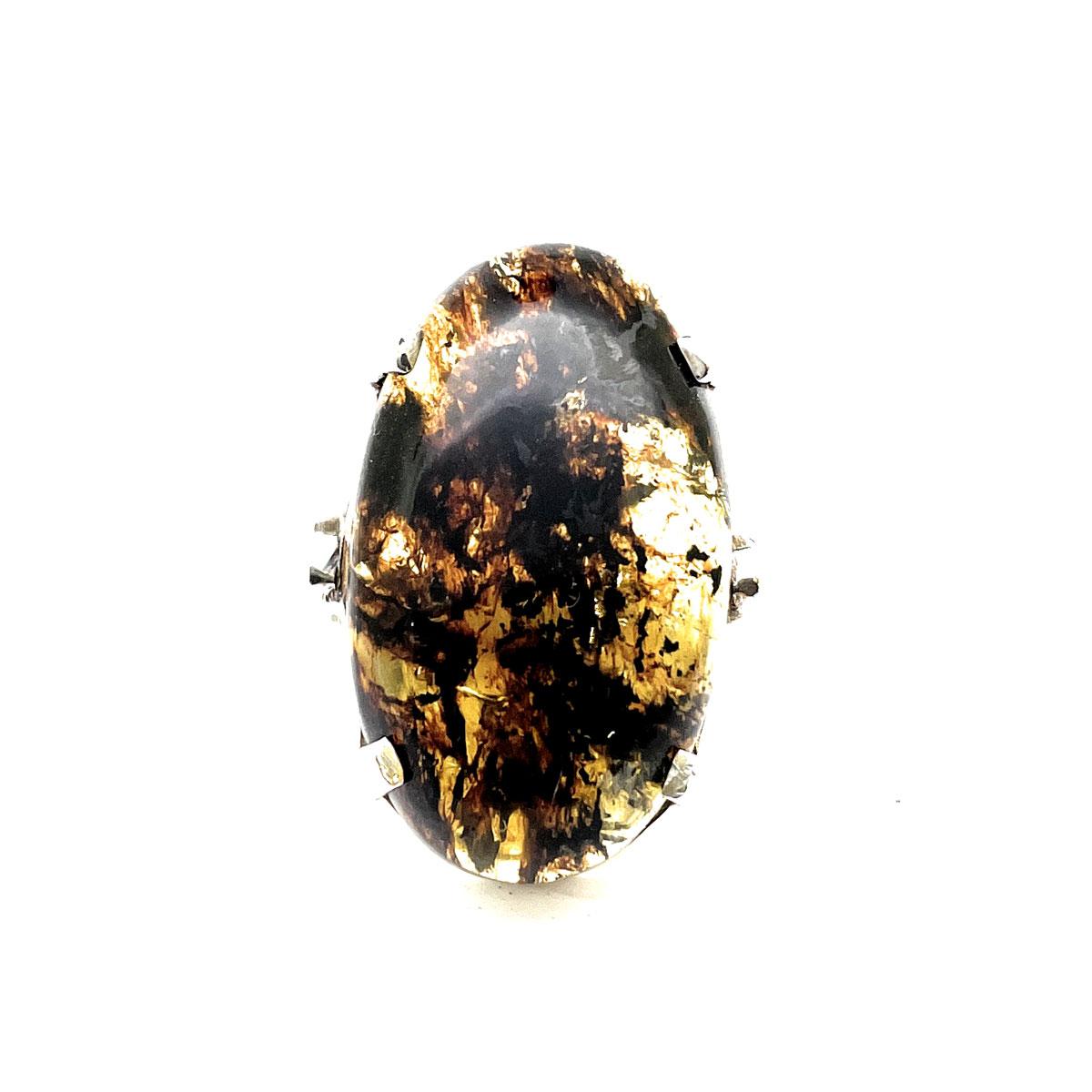 Anel Âmbar Natural Oval Escuro em Prata de Lei 51507