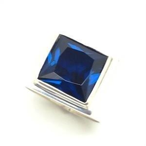 Anel Azul Safira Masculino Comendador Prata De Lei 19171S