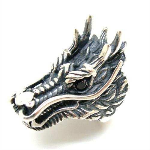Anel Bali Dragão Rei 4Cm Maciço De Prata Original 20908