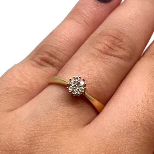 Anel Chuveiro 7 Diamantes Brancos Ouro Amarelo 18K 24322 K500