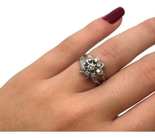 Anel Chuveiro de Diamantes Estrela 0,37 Cts Ouro 18K