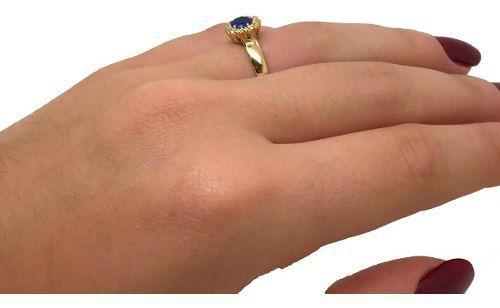 Anel Chuveiro de Safira Sintética Ouro 18K 21315