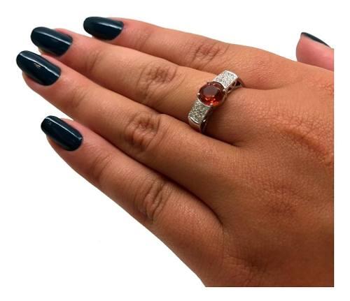 Anel Citrino Pave Diamantes Ouro Branco 13867 K730
