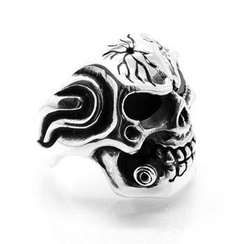 Anel Crânio Caveira Skull Bala Nos Dentes Rubi Prata 14058
