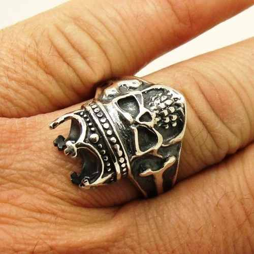Anel Crânio Caveira Skull Coroa Rei Genuina Prata De Lei 14007