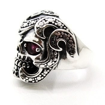 Anel Crânio Skull Arabesto Rubi Prata De Lei 13993