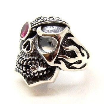 Anel Crânio Skull Charuto Rubi Prata De Lei 14054