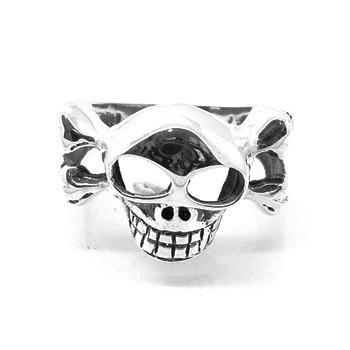 Anel Crânio Skull Ossos Em X Prata De Lei 14056
