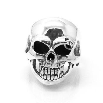 Anel Crânio Skull Pircing Caveira Prata De Lei 14053