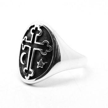 Anel Cruz Templaria Estrela Lua Prata De Lei 02717