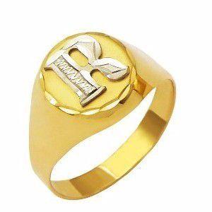 Anel Dedinho Letra Alfabeto A a Z Unissex Ouro 18K K260 25733