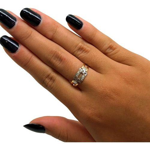 Anel Diamantes Detalhes Em Ouro Branco 19113 K210