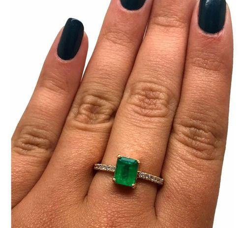 Anel Esmeralda 1,12Cts com Diamantes Em Ouro 18K K800 23116