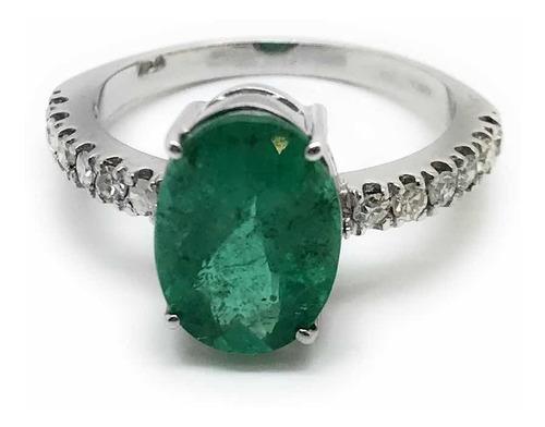 Anel Esmeralda 2,64cts Oval Diamantes Ouro Branco 18K 24507