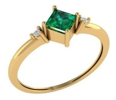 Anel Esmeralda Carre Diamantes Extra Ouro 18K 24321