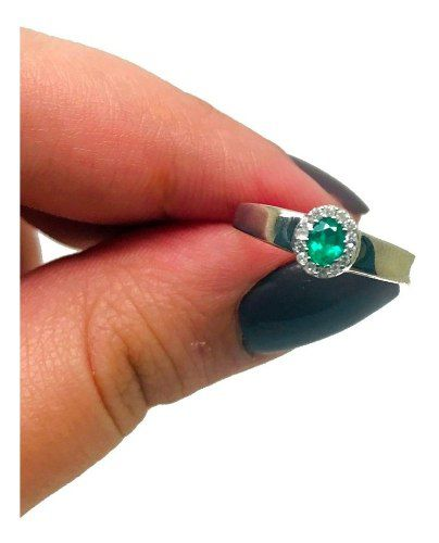 Anel Esmeralda Diamantes Brancos Ouro Branco 18K 24313 K560