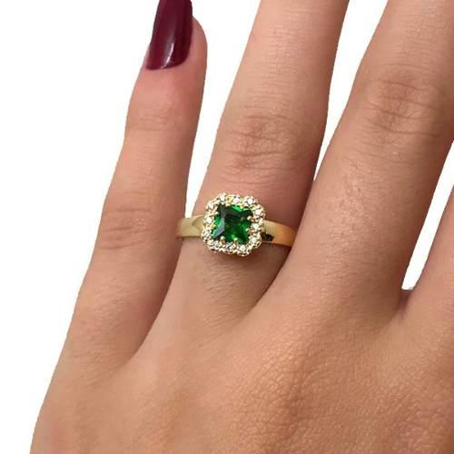 Anel Esmeralda e Diamantes Naturais Formatura Ouro 18K 21500