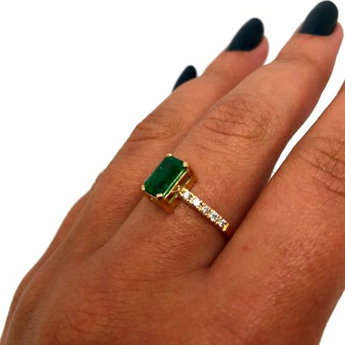 Anel Esmeralda Extra 1,15Cts Diamantes Ouro 18K K975 23112