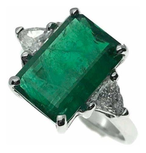Anel Esmeralda Grande Diamantes Trilhante Ouro 18K 25629 K3600