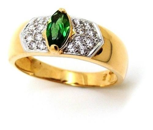 Anel Esmeralda Marquise Natural com Diamantes Ouro 18K 23901