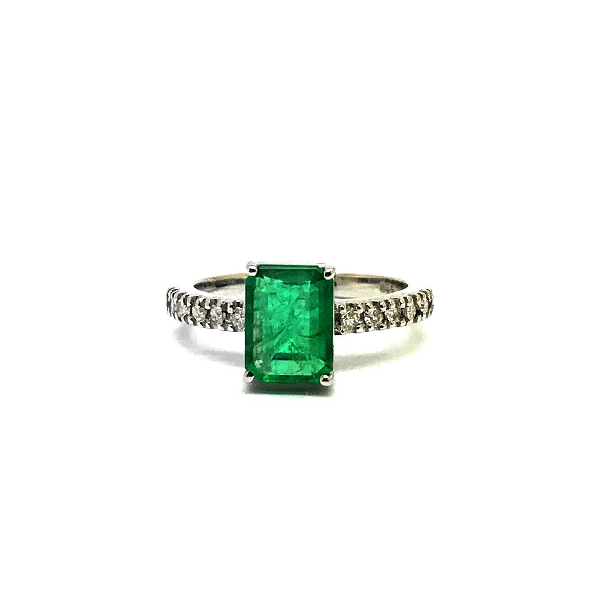 Anel Esmeralda Natural Diamantes Moderno Ouro Branco 25192 K750