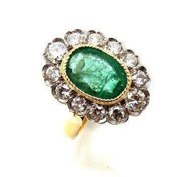 Anel Esmeralda Natural Extra Qualidade com Diamantes 09514