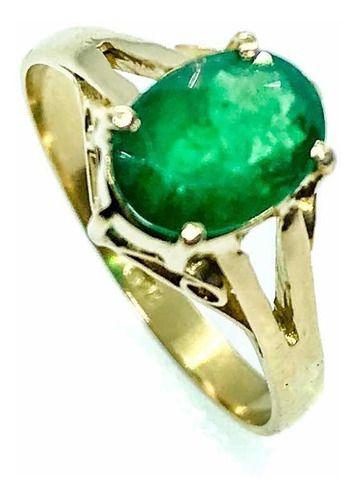 Anel Esmeralda Oval Natural Brasil Ouro 18K 01482 K540