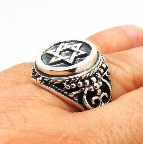 Anel Estrela De Davi Especial Tribal Prata De Lei 13842