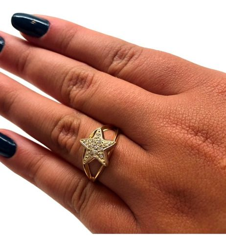 Anel Estrela Diamantes Ouro Branco 18K 09666 K420