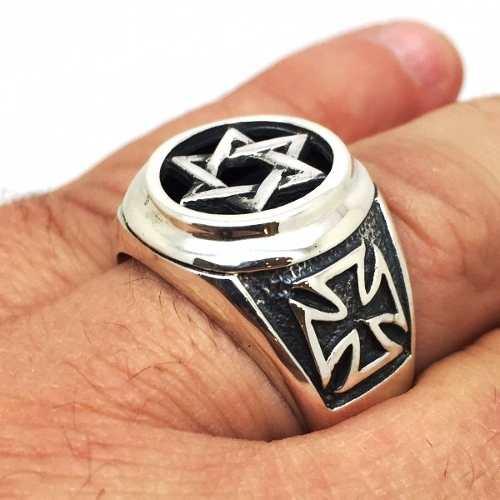 Anel Estrela E Cruz De Malta Prata De Lei Maciço 21343