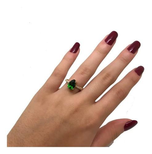 Anel Feminino Verde Esmeralda Brilhantes Sintetícos Ouro 18K 23745 K370