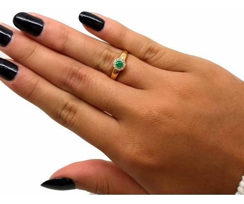 Anel Formatura Esmeralda Diamantes Ouro 18K 15696 K550