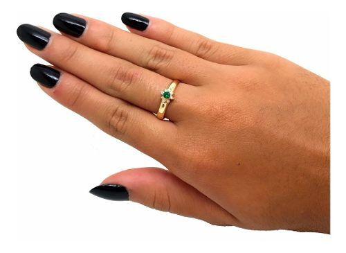 Anel Formatura Esmeralda Suíça Feminino Ouro 18K K220 23047