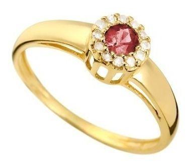 Anel Rubi Diamantes Naturais Ouro 18K 24576 K480