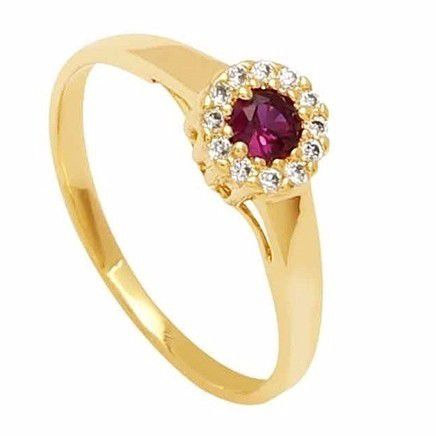 Anel Rubi e Diamantes Naturais Feminino Ouro 18K 21060