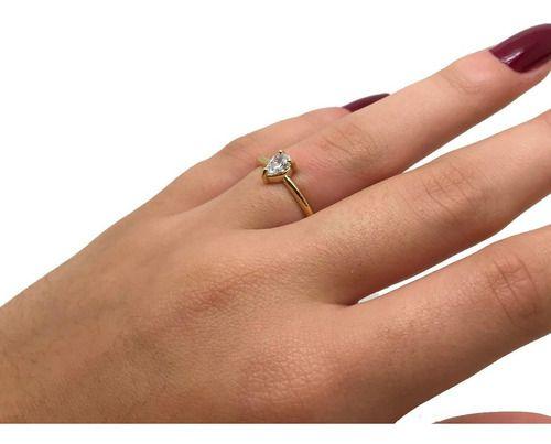 Anel Gota Solitário Cristal de Zircônia Ouro Aro Maciço 18K 23748