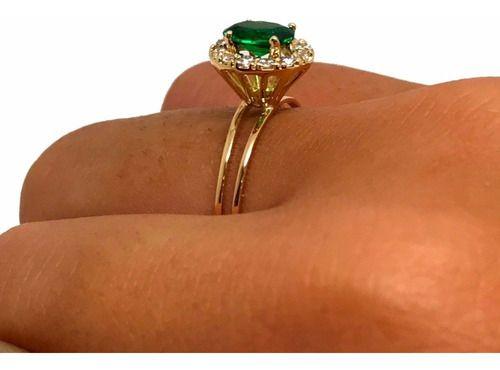 Anel Kate Midd Lady Di Esmeralda Suíça Ouro 18K K260 26151