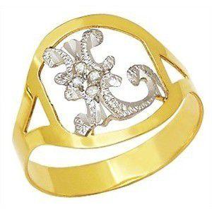 Anel Letra Diamantes Personalizado Feminino Ouro 18K K330