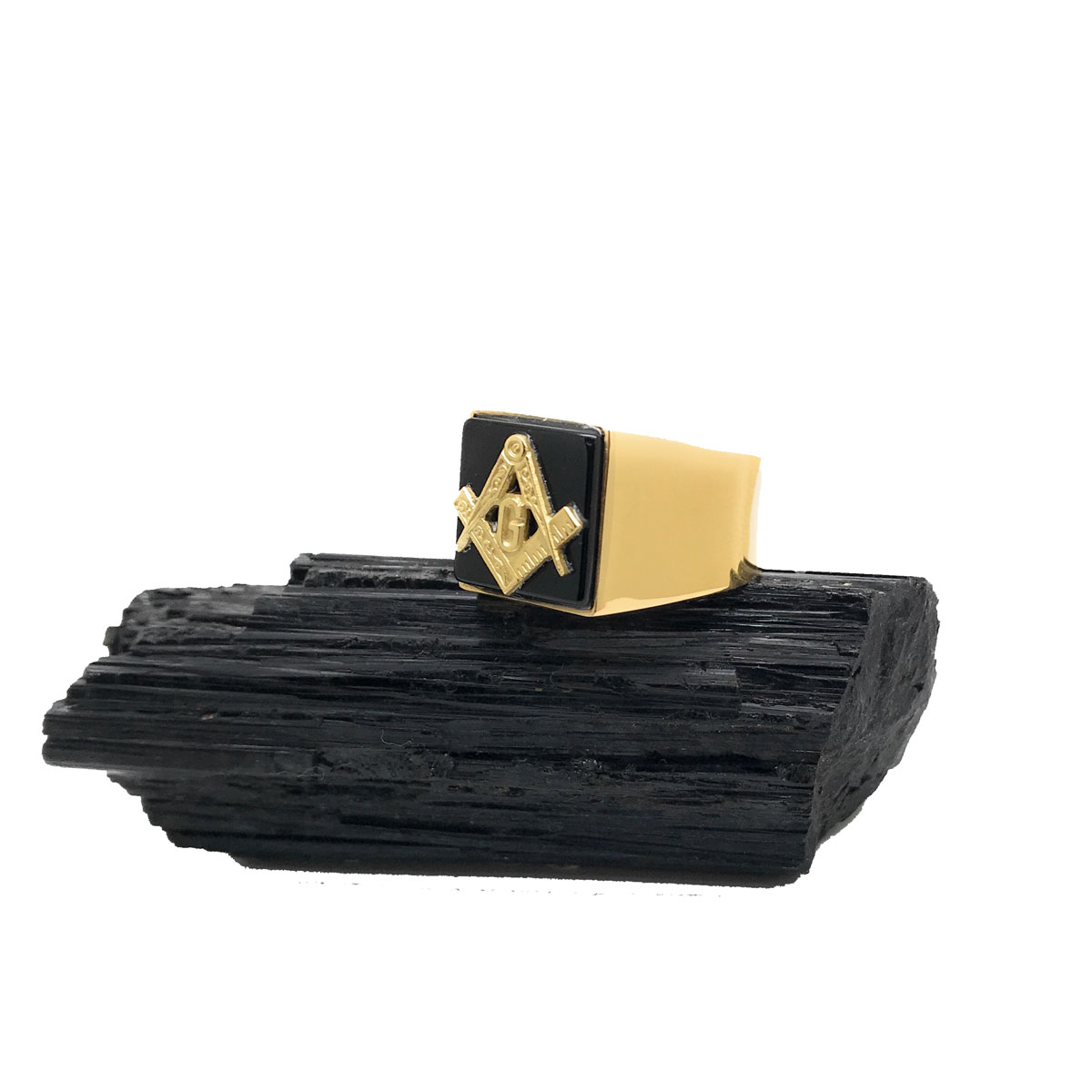 Anel Maçonaria Masculino Ônix Black Genuíno Ouro 18k 21602