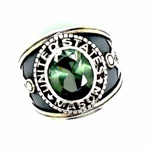 Anel Maçonaria Turmalina Verde Prata De Lei 02714 Tu