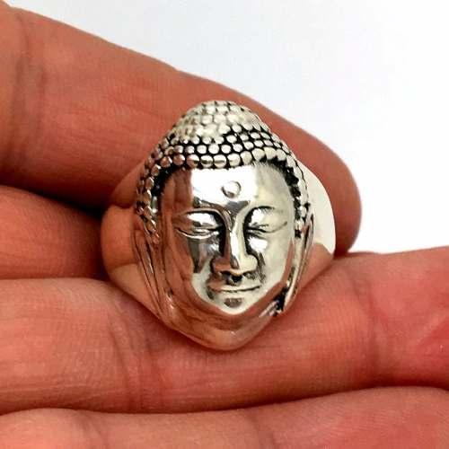 Anel Buda Indiano Prata de Lei Forrado Maciço Unissex 22149