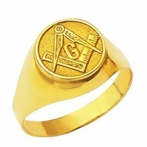 Anel Masculino Maçonaria Maciço Forrado Ouro 18K k550
