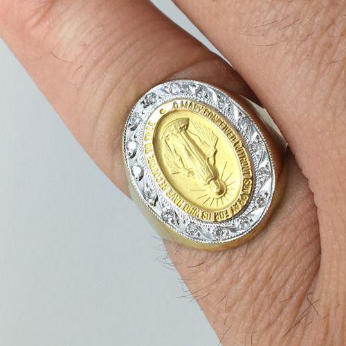 Anel Nossa Senhora Das Graças Diamantes Ouro 18K 25436 K620