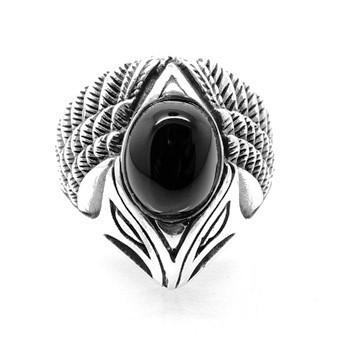 Anel Ônix Black Cabeça De Aguia Em Prata De Lei 14066