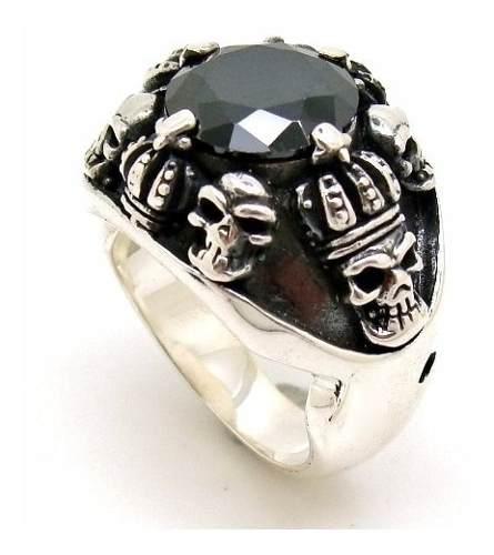 Anel Ônix Black Com Caveiras Rei Coroa Em Prata De Lei 25407