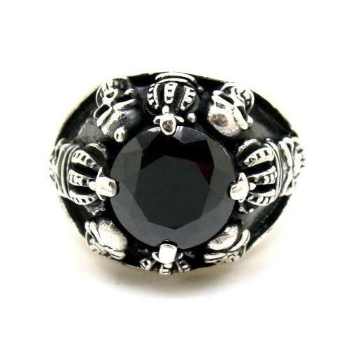 Anel Ônix Black Com Caveiras Rei Coroa Genuina Prata De Lei 25407