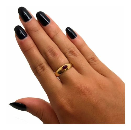 Anel Rubi Indiano Natural Navete Ouro 18K K205 21436