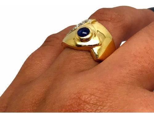 Anel Safira Azul 7 Diamantes Feminino Ouro 18K K1280 11101