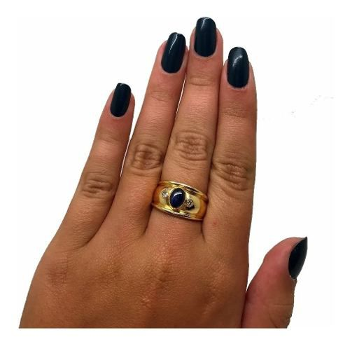 Anel Safira Cabochão Diamantes Feminino Ouro 18K K755 21394